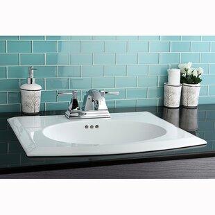 Kingston Brass Courtyard Ceramic Rectangular Drop-In Bathroom Sink with Overflow