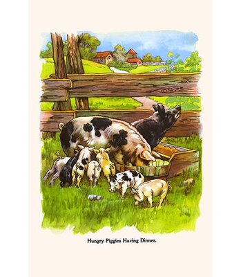 Hungry Piggies Having Dinner By Bird And Haumann Painting Print Buyenlarge Size 42 H X 28 W X 15 D