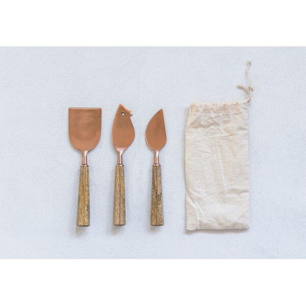 Kendig Brass Stainless Steel Cheese Knives 3 Piece Hostess Serving Set Joss Main
