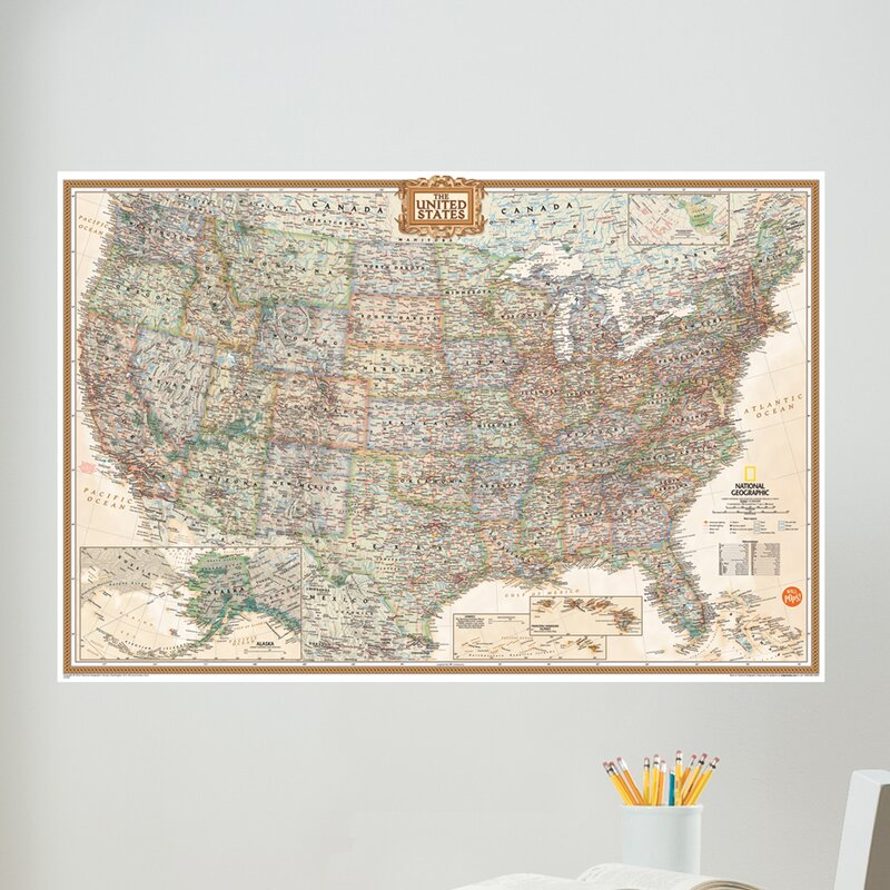 wall art kit national geographic usa map wall mural
