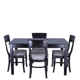 Tymon 5 Piece Solid Wood Dining Set DarHome Co