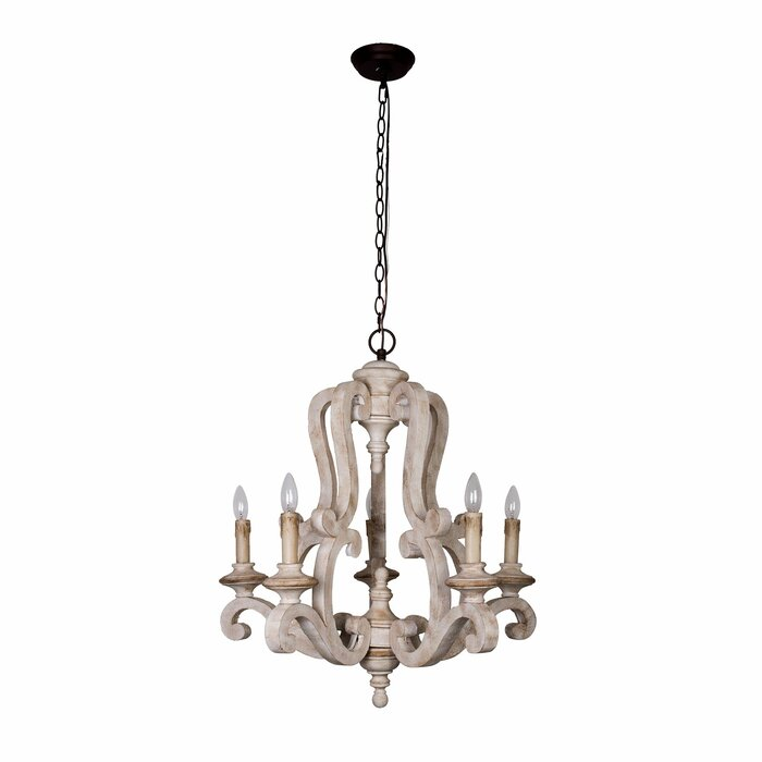 Bella antique wooden 6 light candle style chandelier