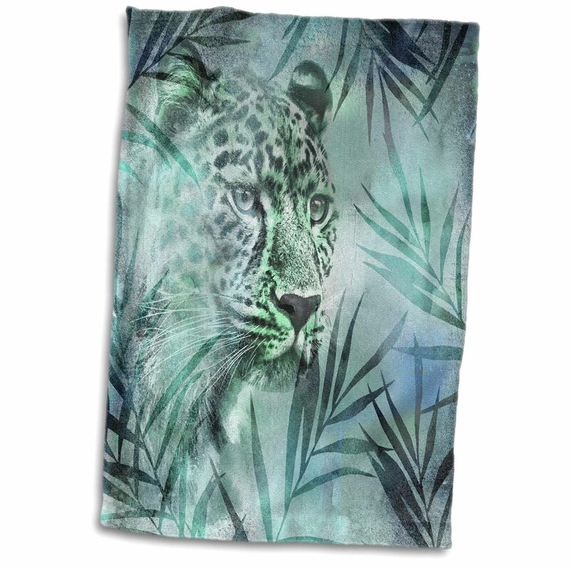 East Urban Home Acosta Leopard And Palm Leaves Hand Towel Wayfair