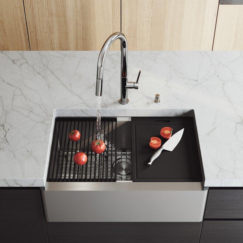 Vigo Oxford 30 L X 21 W Farmhouse Kitchen Sink With Basket Strainer Reviews Wayfair
