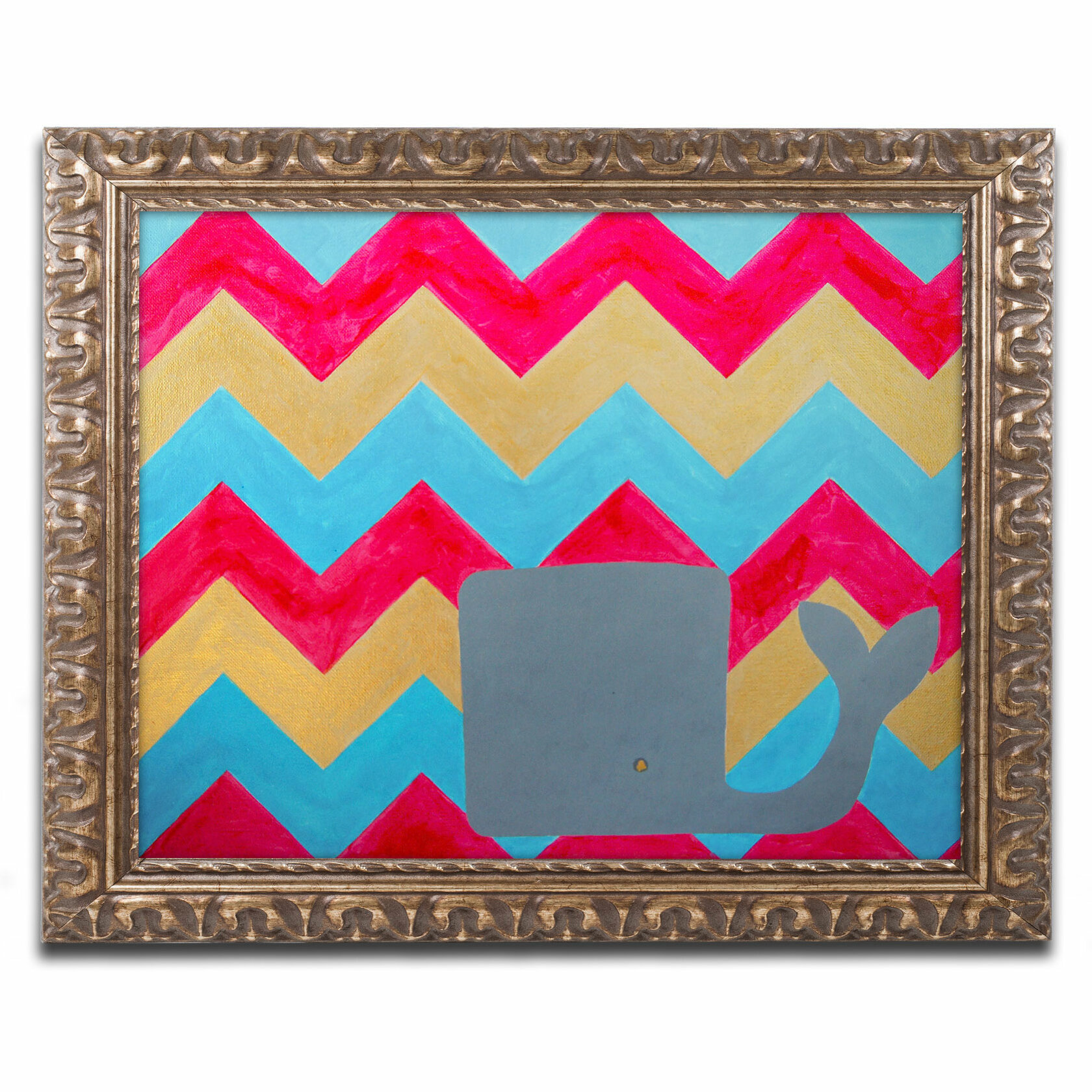 Turquoise And Gold Chevron Background