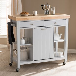 Witkowski Homer Kitchen Cart with Wood Top Gracie Oaks