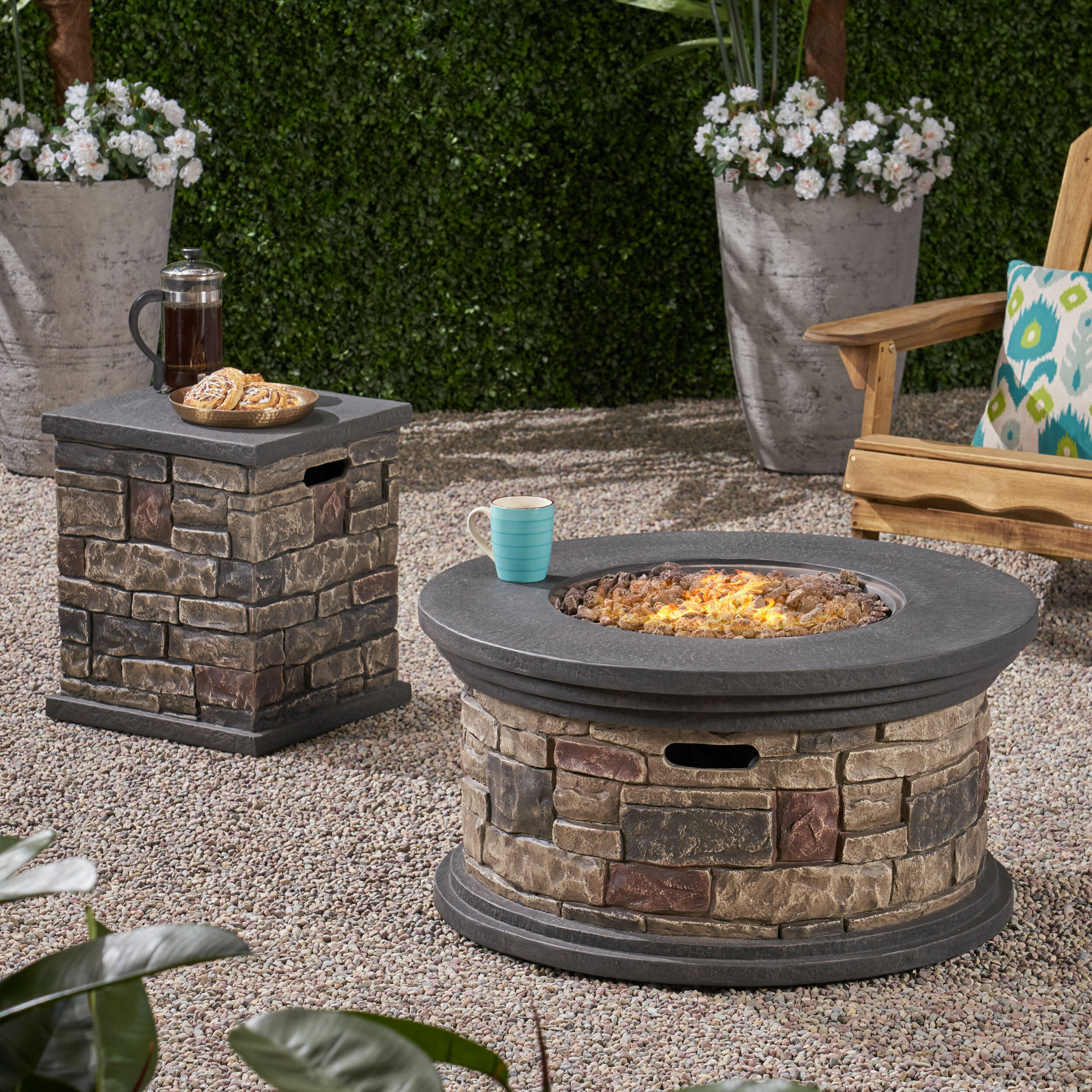 Image of: Loon Peak Keper Concrete Propane Fire Pit With Tank Holder Reviews Wayfair