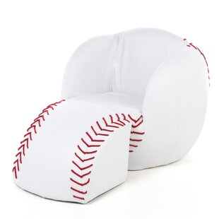 Isaac Baseball Kids Novelty Chair and Ottoman by Zoomie Kids