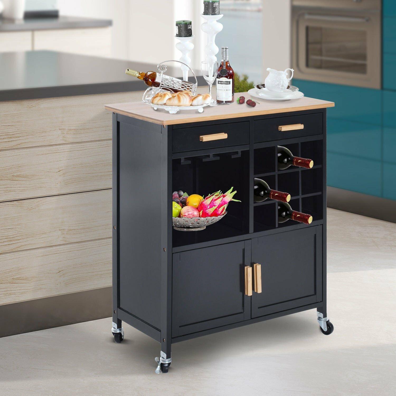 Winston Porter Elliot Stemware Storage Kitchen Cart | Wayfair