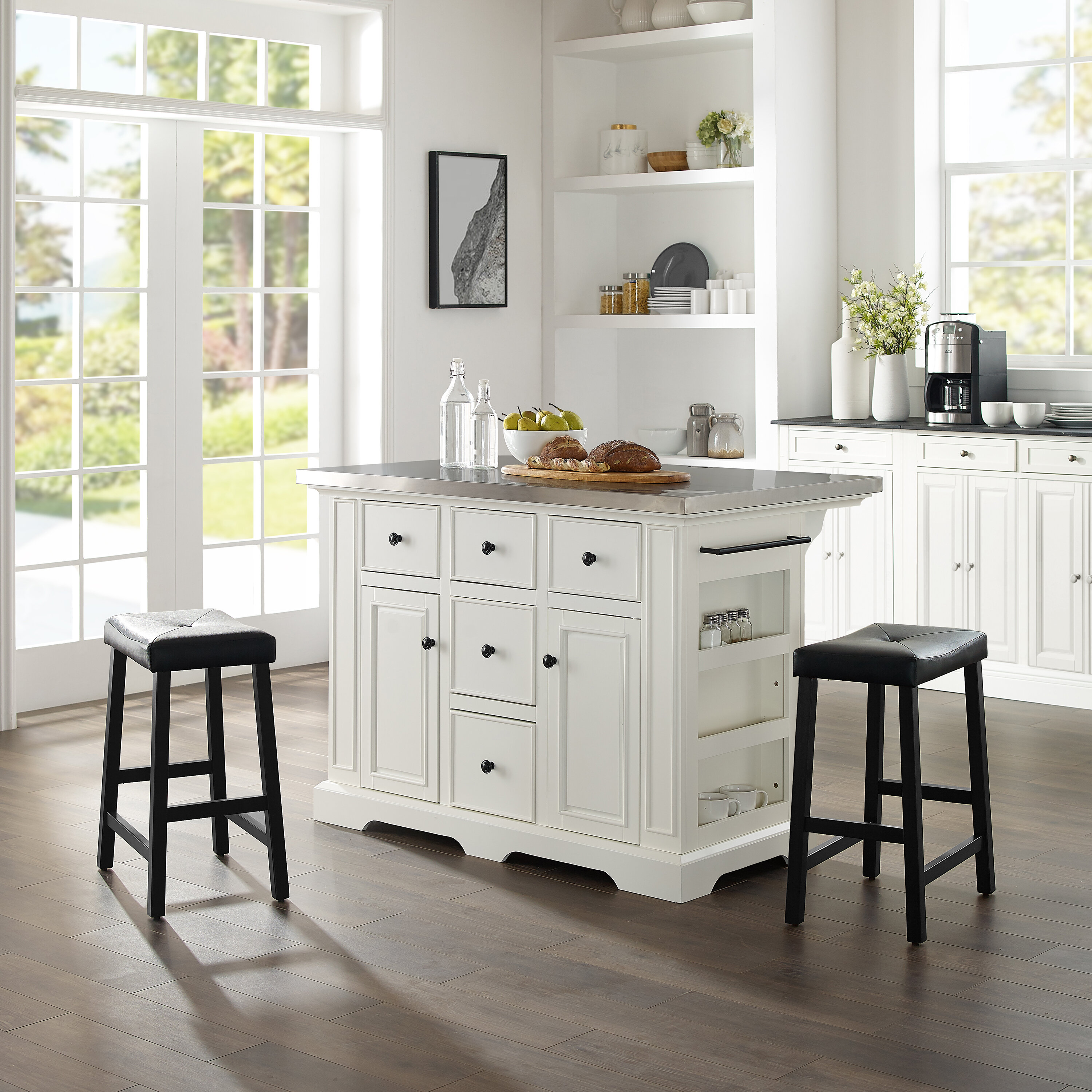 Gael Kitchen Island Set with Stainless Steel