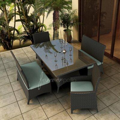 Hampton 5 Piece Dining Set with Sunbrella Cushions Forever Patio Fabric: Canvas Spa / Canvas Spa Welt