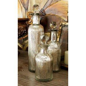 3 Piece Glass Stopper Decorative Bottle Set