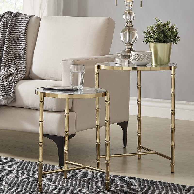 Conlon Bamboo Look Stainless Steel 2 Piece Nesting Tables by Mercer41