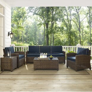 Beachcrest Home Dardel 5 Piece Rattan Sofa Set with Cushions