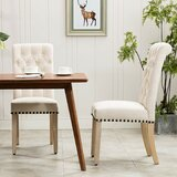 Roberto Tufted Linen Upholstered Parsons Chair (Set of 2) by Canora Grey