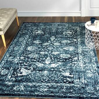 Bungalow Rose Vishnu Dark Blue Cream Area Rug Reviews Wayfair