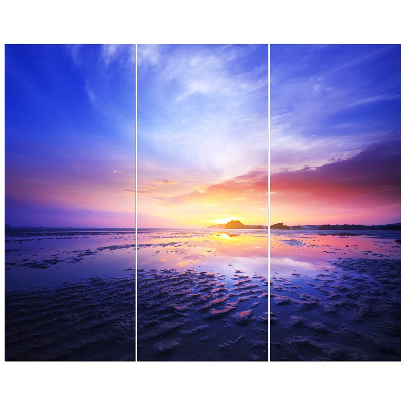 East Urban Home Sunset At Low Tide Photographic Print Multi Piece Image On Wrapped Canvas Wayfair
