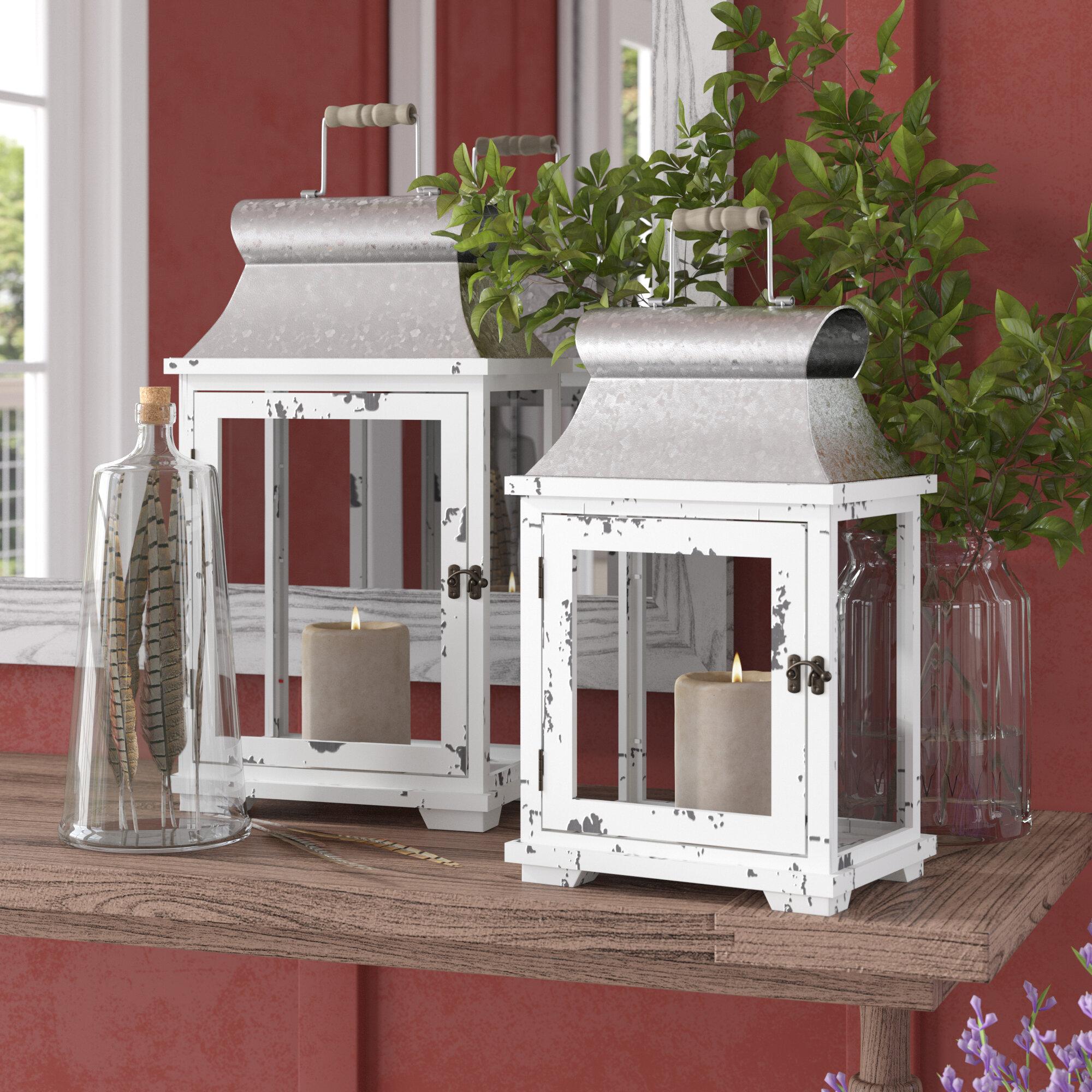 2 Piece Wood Glass Metal Lantern Set Reviews Birch Lane