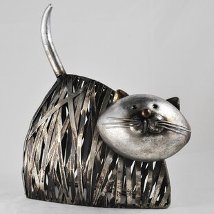 Animal Twisted Metal Cat Lying Down Statue By Happy Larry