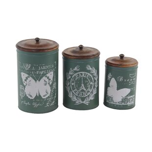 Vicknair Cylindrical Tin 3 Piece Kitchen Canister Set