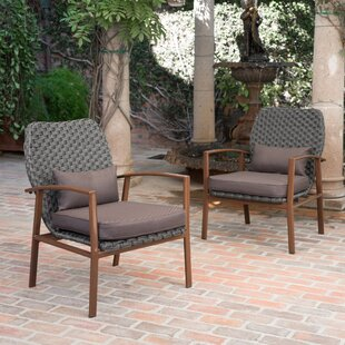 Zaanstad Outdoor Club Armchair with Cushions (Set of 2) By Mistana