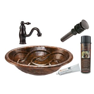 Premier Copper Products Braided Metal Oval Drop-In Bathroom Sink with Faucet and Overflow