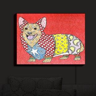 Latitude Run Corgi Dog Watermelon' Print on Fabric