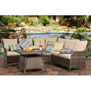 Helms Outdoor 4 Piece Rattan Sectional Seating Group with Cushions (Set of 2)