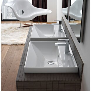 ML Ceramic Rectangular Dual Mount Bathroom Sink with Overflow