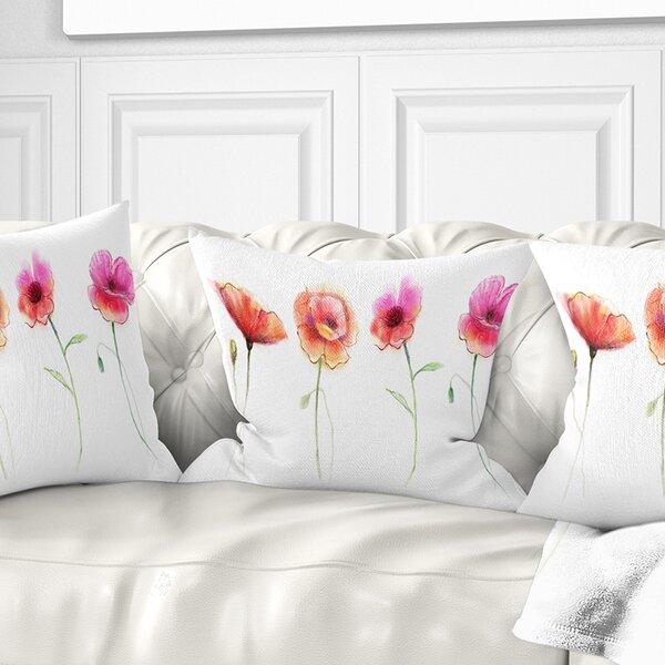 East Urban Home Flower Watercolor Poppy Sketch Pillow Wayfair