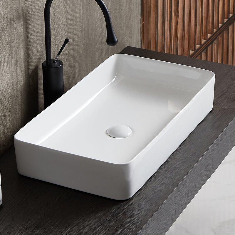 Eridanus White Ceramic Rectangular Vessel Bathroom Sink Wayfair