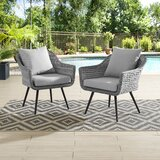 Endeavour Armchair Outdoor Patio Wicker Rattan Set of 2 in Grey Grey (Set of 2) byIvy Bronx