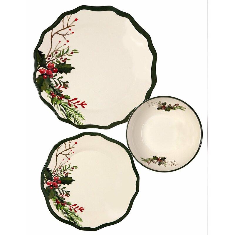 Melange Winter Bouquet 36 Piece Dinnerware Set Service For 12 Wayfair