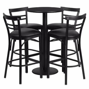 Alvarez Modern Round Laminate 5 Piece Pedestal Pub Table Set by Red Barrel Studio
