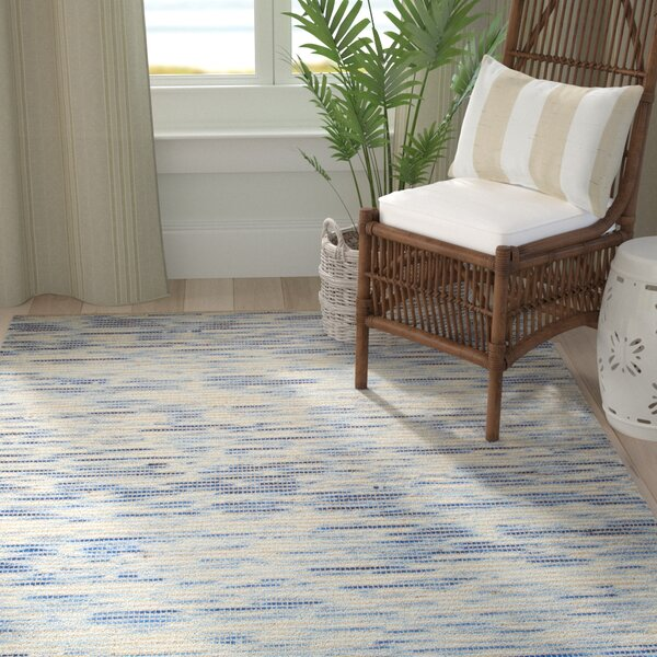 Highland Dunes Holler Handwoven Wool Blue Beige Rug Wayfair