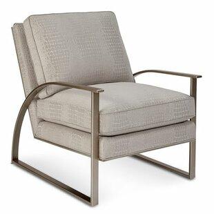 Gracie Oaks Alvina Brass Metal Armchair