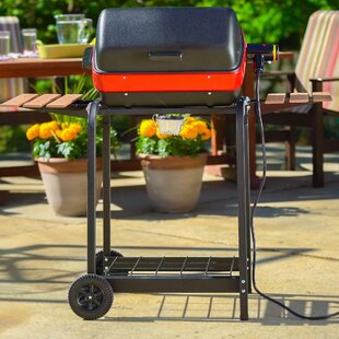 MECO Corporation Easy Street Electric Cart Grill with Folding Side Tables, Shelf, and Rotisserie