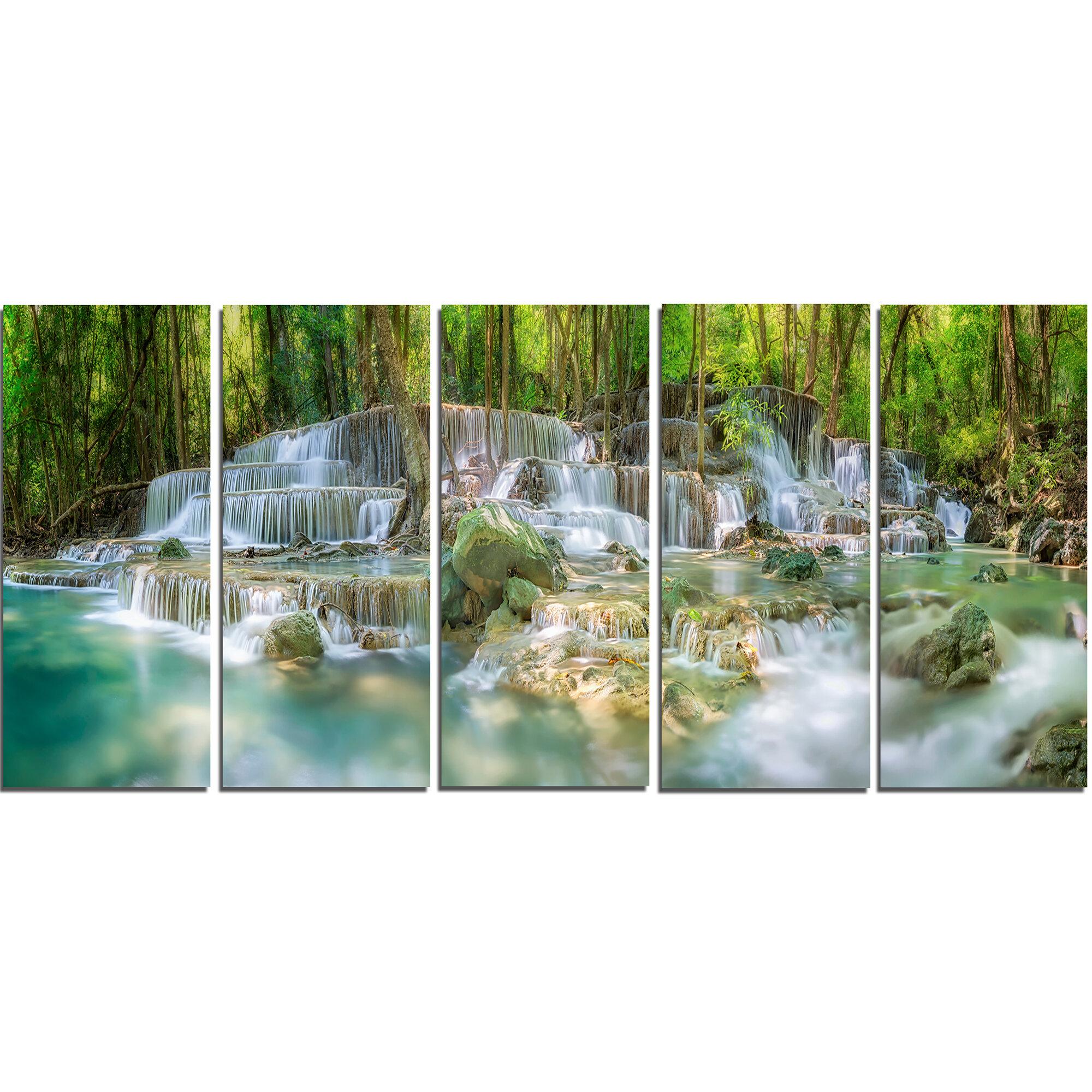 Designart Level 6 Of Huaimaekamin Waterfall 5 Piece Wall Art On Wrapped Canvas Set Wayfair