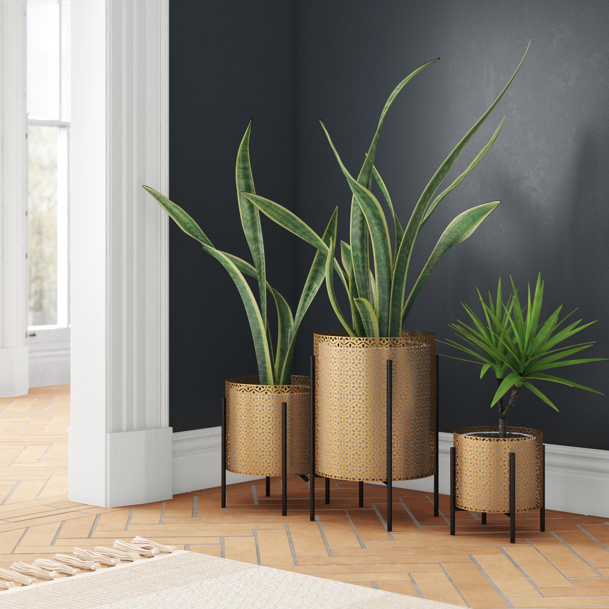 Allandra 3 Piece Metal Pot Planter Set Joss Main