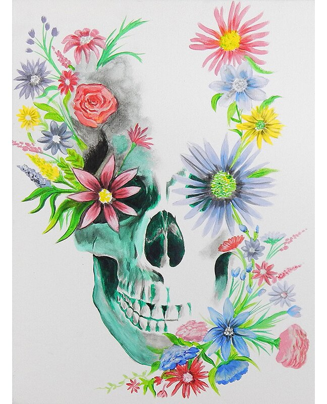 Buy Art For Less Skulls N Flowers By Ed Capeau Painting Print On Wrapped Canvas Wayfair