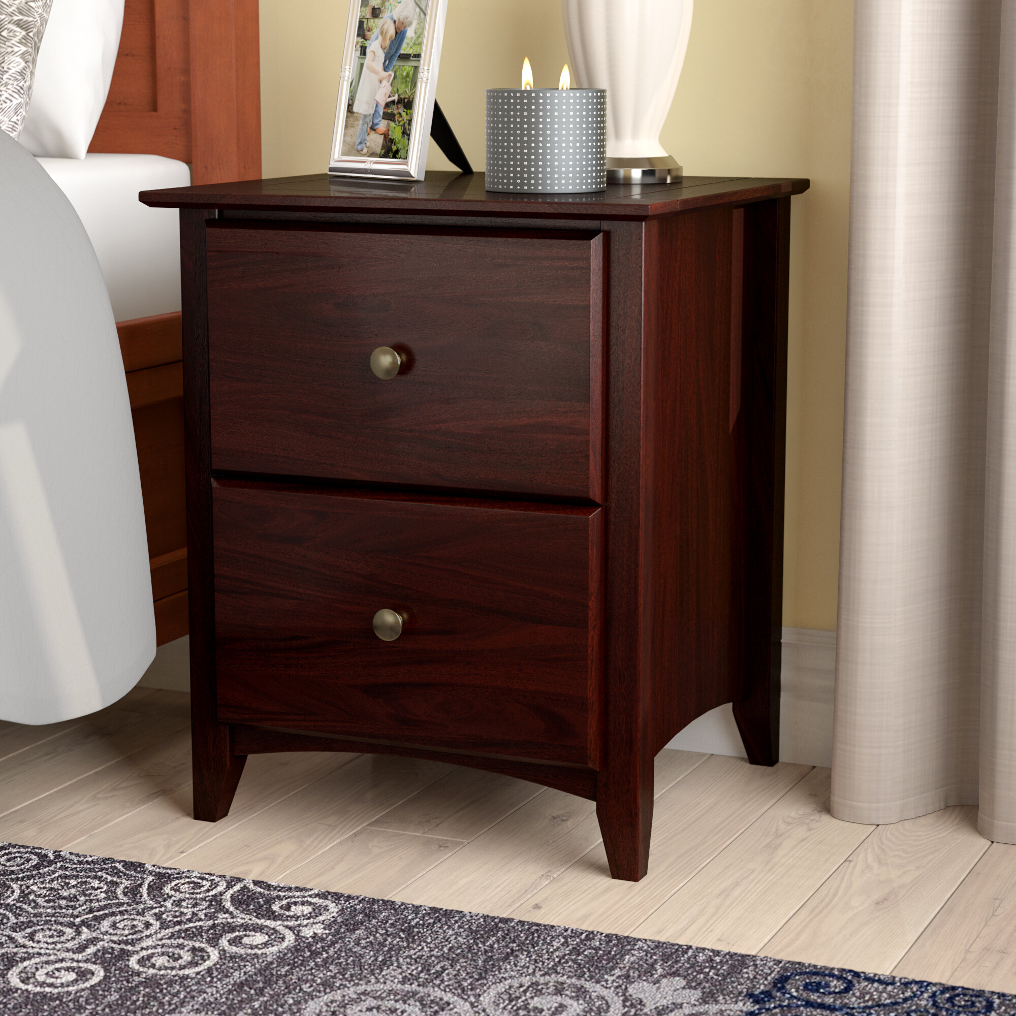 Wood Monitor Stand with Drawer and Cubby in CHERRY Large Size