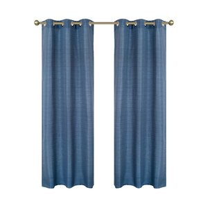 Blended Solid Semi-Sheer Grommet Curtain panels (Set of 2)