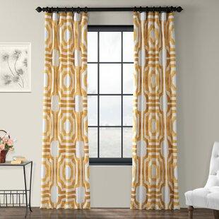 Donato Geometric Printed Cotton Room Darkening Rod Pocket Single Curtain Panel
