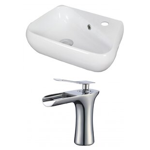 American Imaginations Specialty Ceramic Specialty Vessel Bathroom Sink with Faucet and Overflow