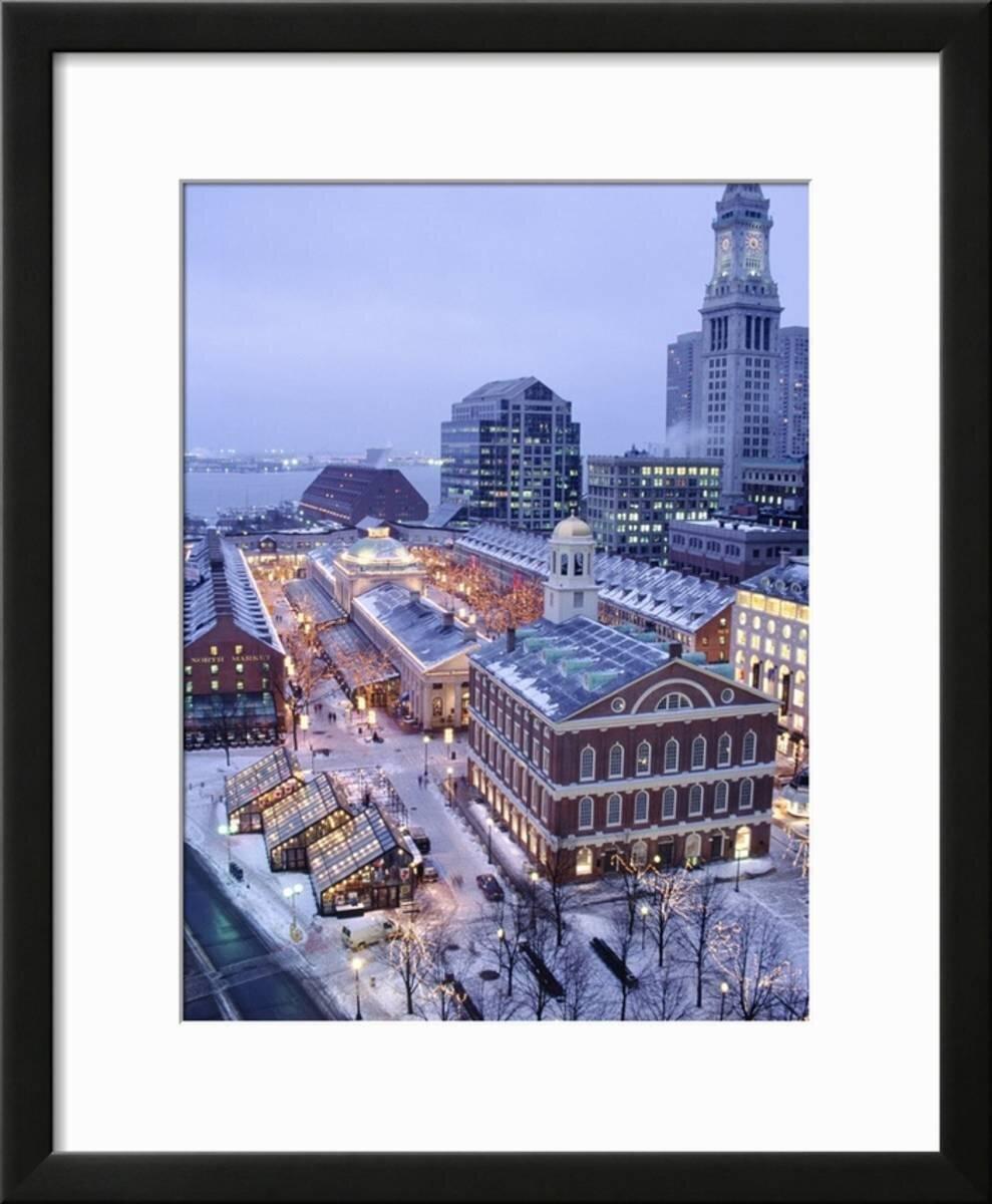 Winston Porter U0027Quincy Market, Faneuil Hall, Boston, MAu0027 Framed  Photographic Print   Wayfair