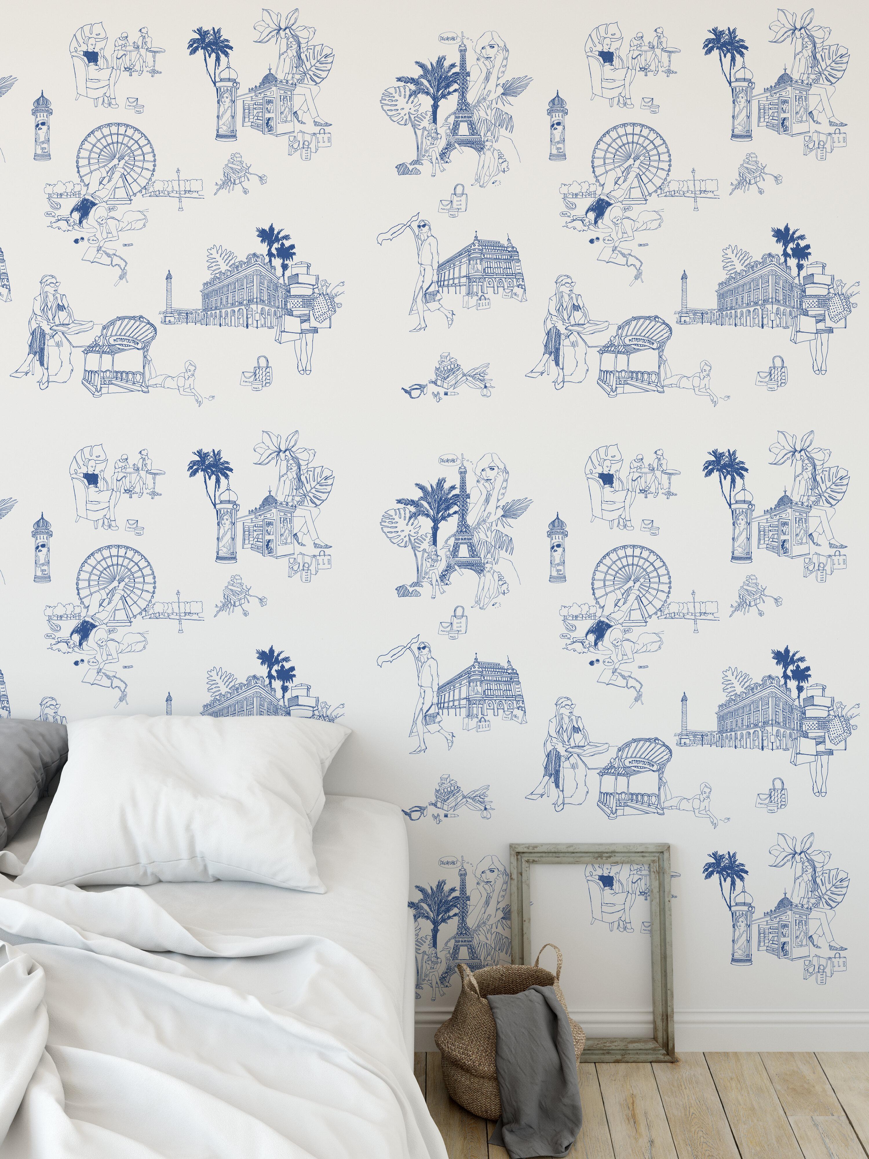 Sheers Tiny Toile de jouy Dollhouse Curtains Blue /& Cream w// Cream Satiny Semi