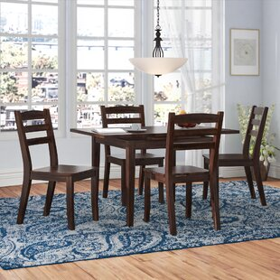 Pico 5 Piece Cream Frame Solid Wood Dining Set Alcott Hill