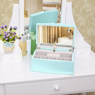 Girls Music Jewellery Box with Ballerina, Unique Tiffany Blue Wooden Musical Box with Large Mirror