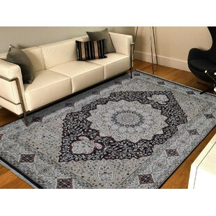 Best Choices One-of-a-Kind Breault with Medallion Hand-Knotted 6' x 9' Wool/Silk White/Black Area Rug By Isabelline