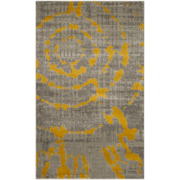 world menagerie chaima light gray/yellow area rug & reviews | wayfair